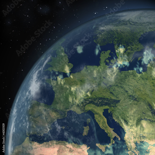 einzelne bedruckte Lamellen - Europa aus dem All (von Jack Jonson)