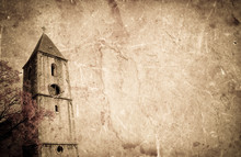 Old Church On Grunge Paper Background