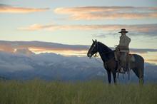 Cowboy On Montana Ridge At First Light,mountain Background