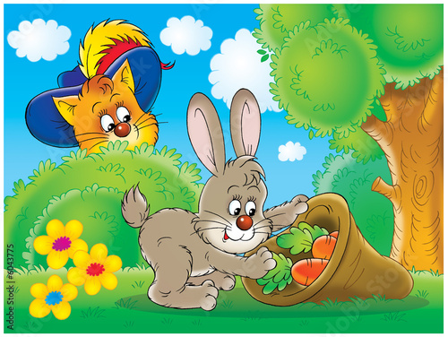 Poster Vogels, bijen Cat and rabbit