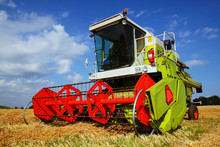Combined Harvester In Field