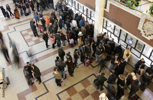 Fotografie, Obraz  queue in  ticket window top view