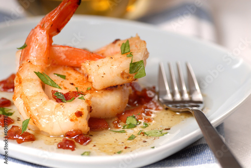 Poster Coquillage Fresh shrimp and scallop sauteed with a bacon vinaigrette