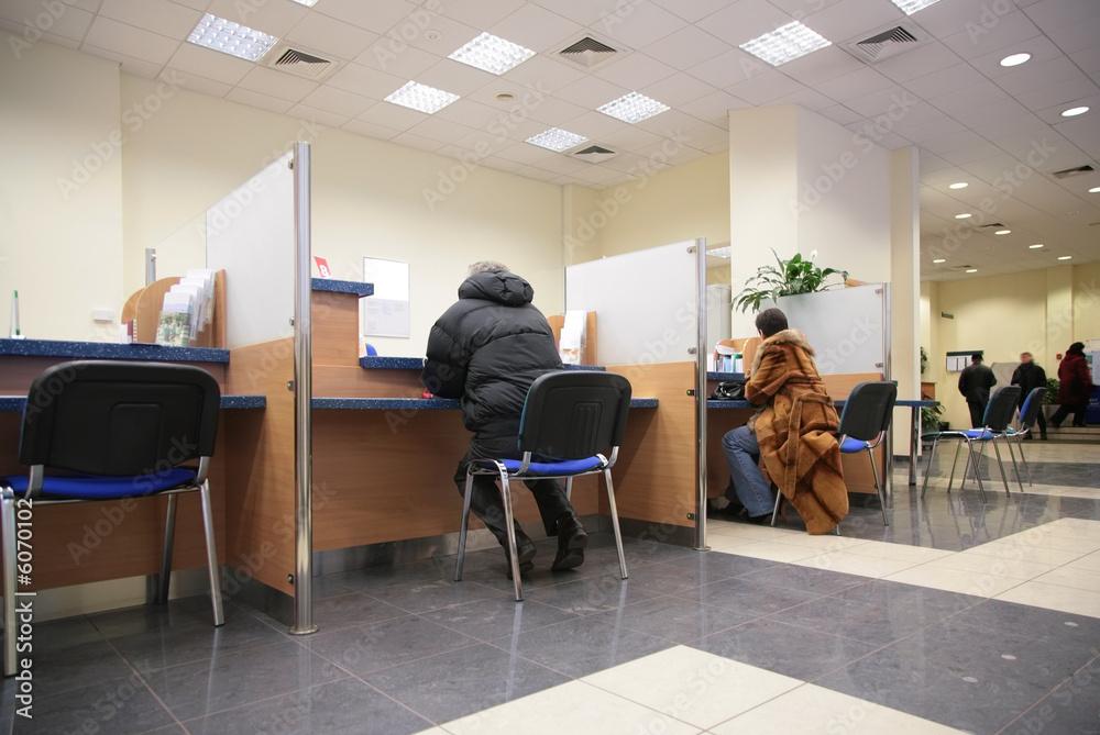Fototapeta people in bank 2