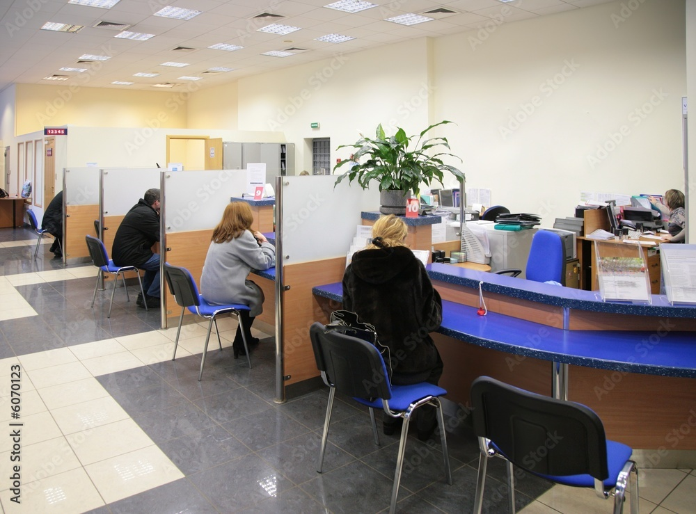 Fototapeta visitors in bank
