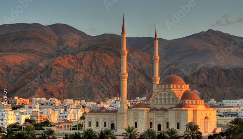 Mosque with two minarets in muscat, Oman Canvas Print