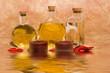 Leinwandbild Motiv Essential body massage oils in bottles