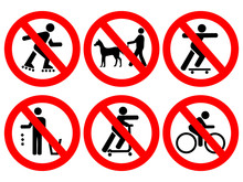 Park Rules Signs No Cycling Scooters Skateboards