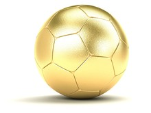 Gold Football On A White Background