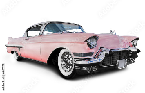 Door stickers Old cars pink cadillac
