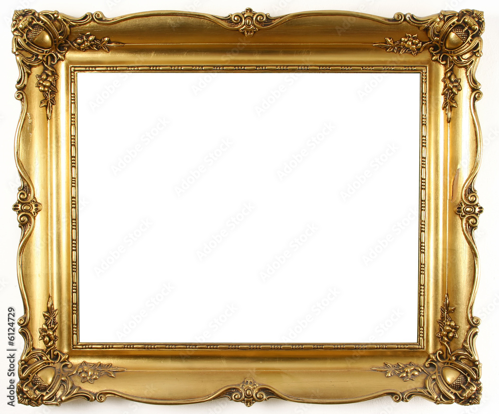 Fototapeta old antique gold frame over white background