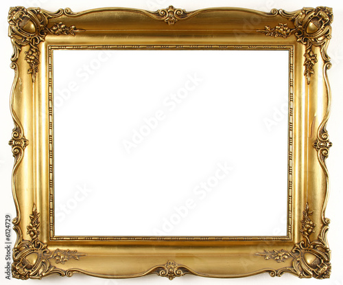 Fotografia  old antique gold frame over white background