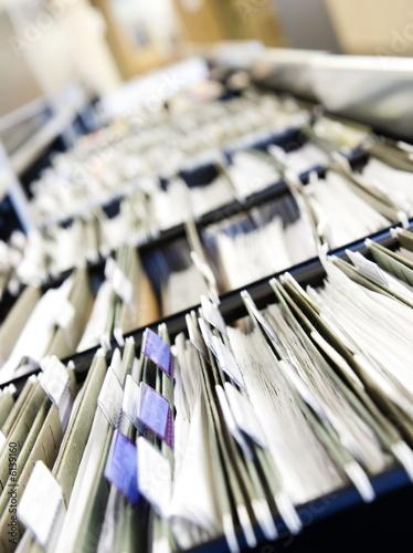 Fototapeta Multiple rows of filing cabinets