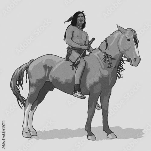Poster Indiens lakota_a_cavallo_BN