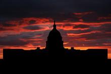US Capitol Building Washington DC At Sunset Illustration