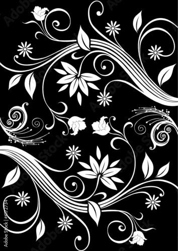 Staande foto Bloemen zwart wit Hintergrund Floral