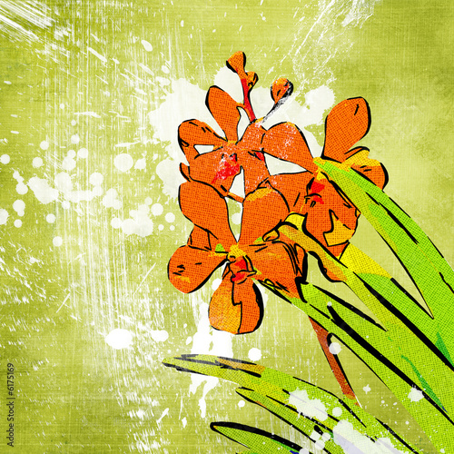 green painted  background with flowers