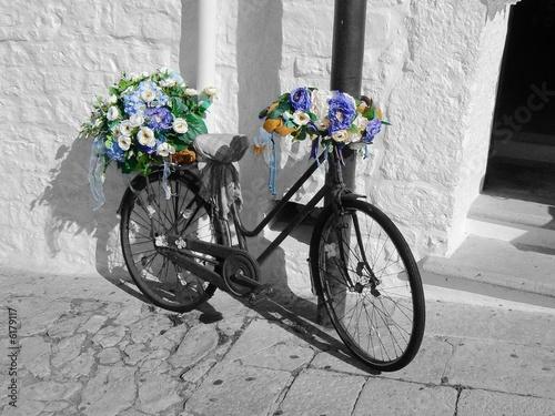 Foto op Plexiglas Bicicletta e fiori