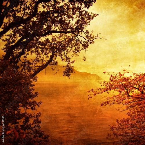 Printed kitchen splashbacks Brown golden sunset