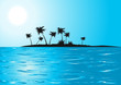canvas print picture - Tropical beach in the blue sunny day, vector illustration