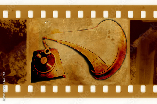 Photo  old 35mm frame photo with vintage gramophone