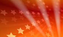 Rendered Red-stars Background With Three Light Rays