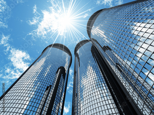 High modern skyscrapers Canvas Print