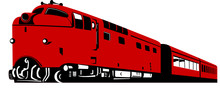 Red Train Isolated On White Background