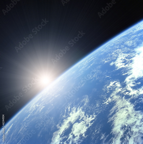 Foto-Rollo - Earth with Rising Sun illustration background (von PaulPaladin)