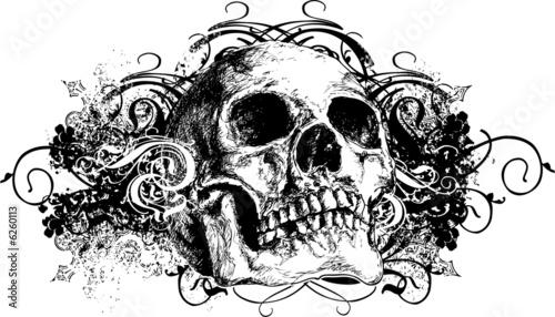 Fotografie, Obraz  Grunge skull floral illustration