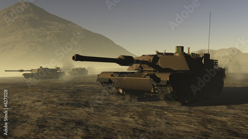 US Battle Tanks in a desert Fototapeta