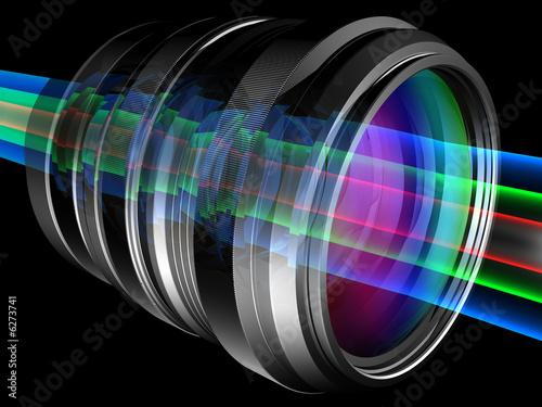 Light rays through camera lens Fototapet