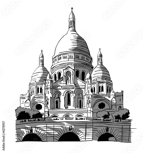 Photo  France, Paris: drawing of Le Sacre-coeur