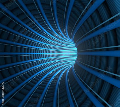 ciemny-tunel-z-niebieskimi-drutami-wektorowa-abstrakcyjna-grafika