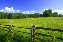 Photo Of Meadow With Fence In ...