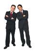 Two happy business men standing