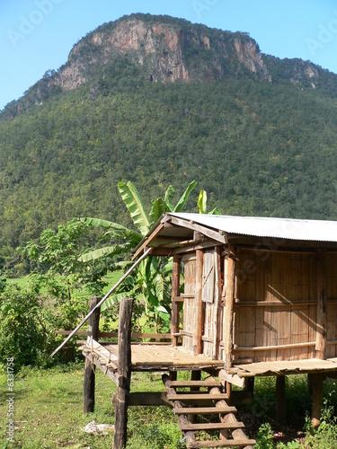 Fotografie, Obraz  Primitive Thai Hilltribe Shed