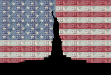 Statue Of Liberty With Flag And Cash