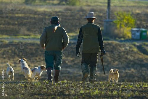 Stampa su Tela Chasseurs et chiens