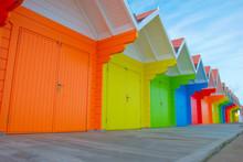 Beach Huts At Scarborough North Bay, North Yorkshire,