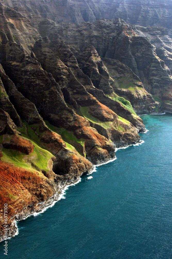 Foto-Schiebegardine Komplettsystem - View from helicopter of coastline