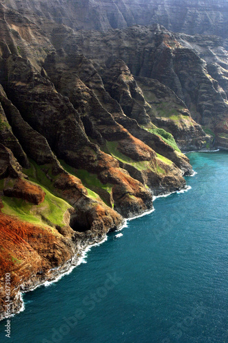 Foto-Schiebegardine Komplettsystem - View from helicopter of coastline (von Rob)