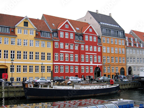 Photo  Copenhagen - houses and boats in the water front of the canals