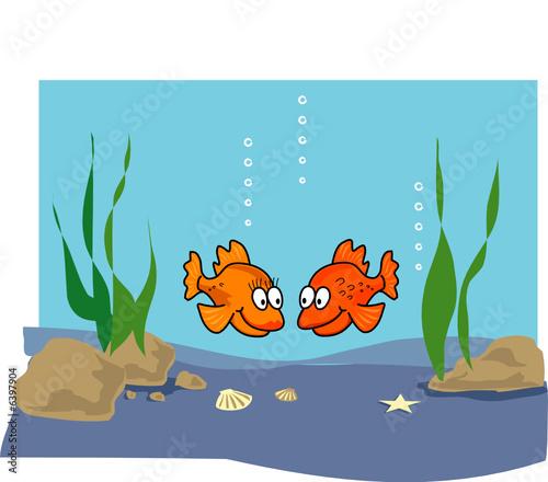 Recess Fitting Submarine Goldfish cartoon illustration