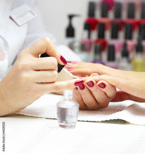 Deurstickers Manicure Manicure process... Female hands...