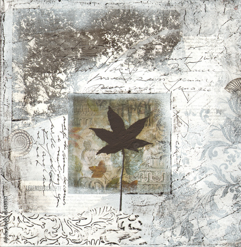 Foto-Stoff bedruckt - Collage in Grau (von Sunnydays)