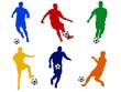 canvas print picture - fussball silhouetten farbig