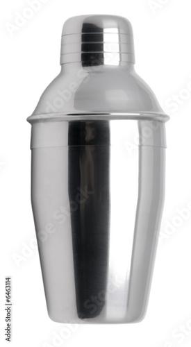 Metal cocktail shaker isolated on white. Obraz na płótnie