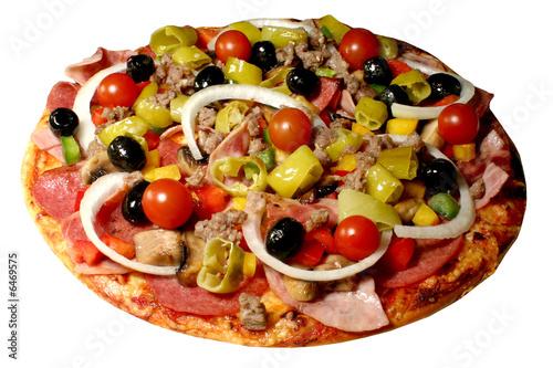 Obraz na plátně  Pizza tomaten oliven peperoni