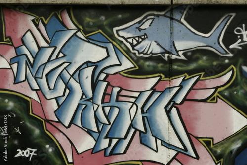 Foto op Aluminium Graffiti collage squalo sul muro